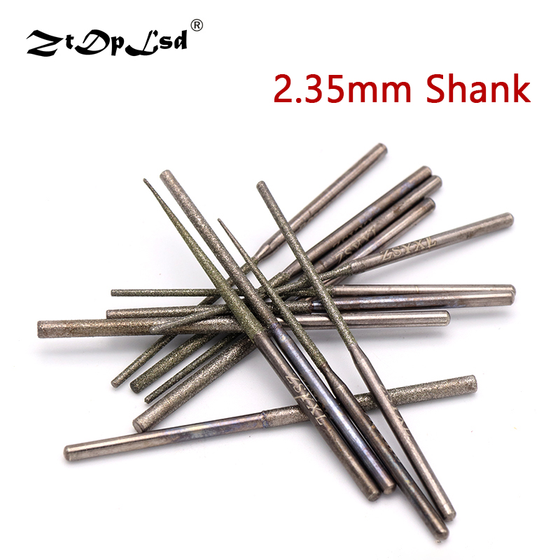 1PCS 2.35MM Shank Diamond Grinding Burr Needle Point Engraving Carving Polishing Glass Jade Stone Drill Bit Rotary Tool
