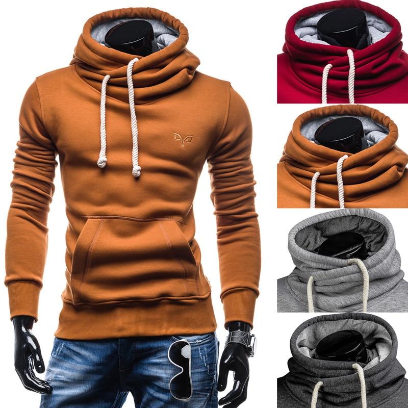 Autumn Hoodies Pullover Solid Color Turtleneck Sweatshirt 4