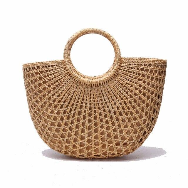 2018 Handmade Bali Women Circle Straw Bags Lady Purse Khaki Handles Round S Beach Bag