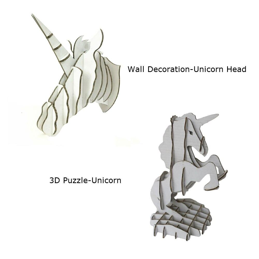 2 шт. Единорог голова настенные украшения Скульптура 3D головоломки картона DIY ручной работы Творческий дом Декор Орнамент вечеринок