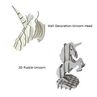 2pcs Unicorn Head Wall Decoration Sculpture 3D Jigsaw Puzzle Cardboard DIY Handmade Creative Home Decor Ornament Party Supplies