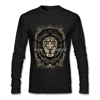 Men T Shirts Animal Casual Royal Lion Simple Style Tshirt Customized Long Sleeve Man T Shirt