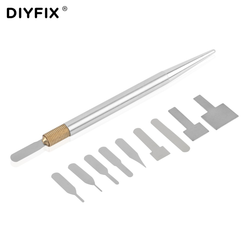DIYFIX 10 in 1 Mobile Phone BGA IC Chip Repair Blades Kit for iPhone CPU Remover Logic Board NAND Flash Repair Tools цена