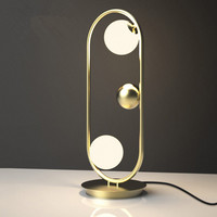 Black / Gold Loft Designer Creative Table Lamp Vintage Unique Study Studio Light Led Glass Ball Living Light Free Sihpping