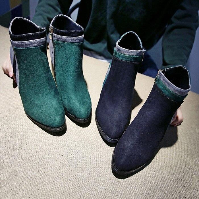 Martin Patchwork Couleur Bottes Date S219 2018 Hiver noir Femmes Dames Botas Mujer Talons Chelsea Cheville Haute Green Mixte Épais Ygyfb76v