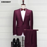 Mens Jacket Shirt Pants 3 Piece Business Gentle Man Slim Blazer Male Interview Formal Suit Groomsman