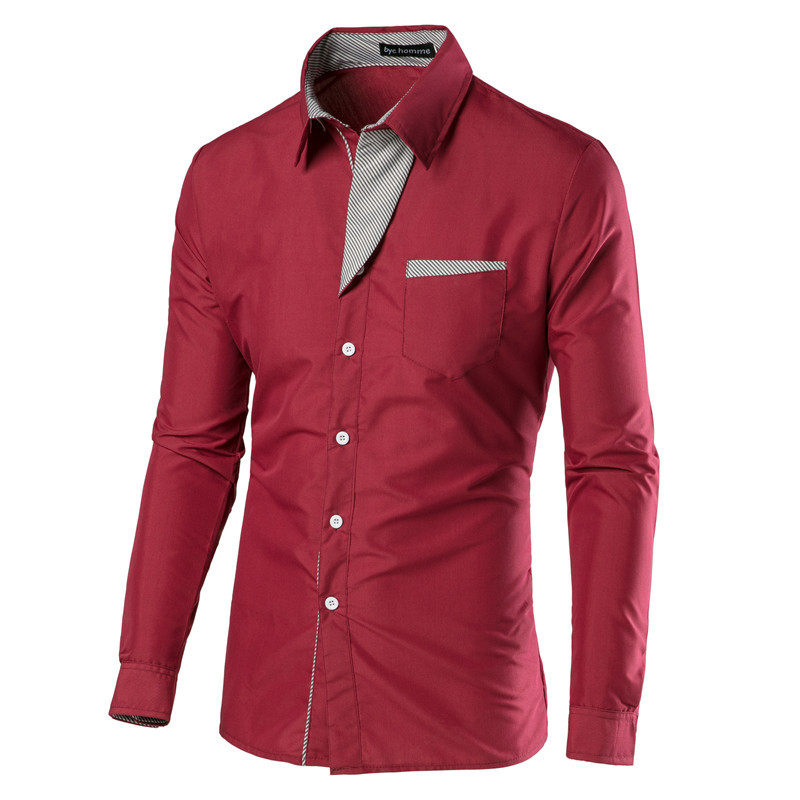 42e02af99b3 Detail Feedback Questions about Mens Dress Shirts Long Sleeve Camisas  Hombre Smart Casual Young Men Shirts Slim Fit Camisa Masculina Fashion Red  Fall Shirt ...