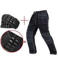 Pantalones de trabajo para hombre multi bolsillos pantalones de trabajo con rodilleras eva removibles de alta calidad mecánico de trabajo de carga pan nuevo 2019