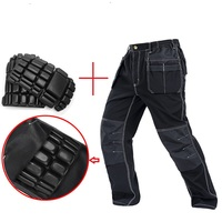 Men working pants multi pockets work trousers with removable eva knee pads top quality worker mechanic cargo work pan New 2019