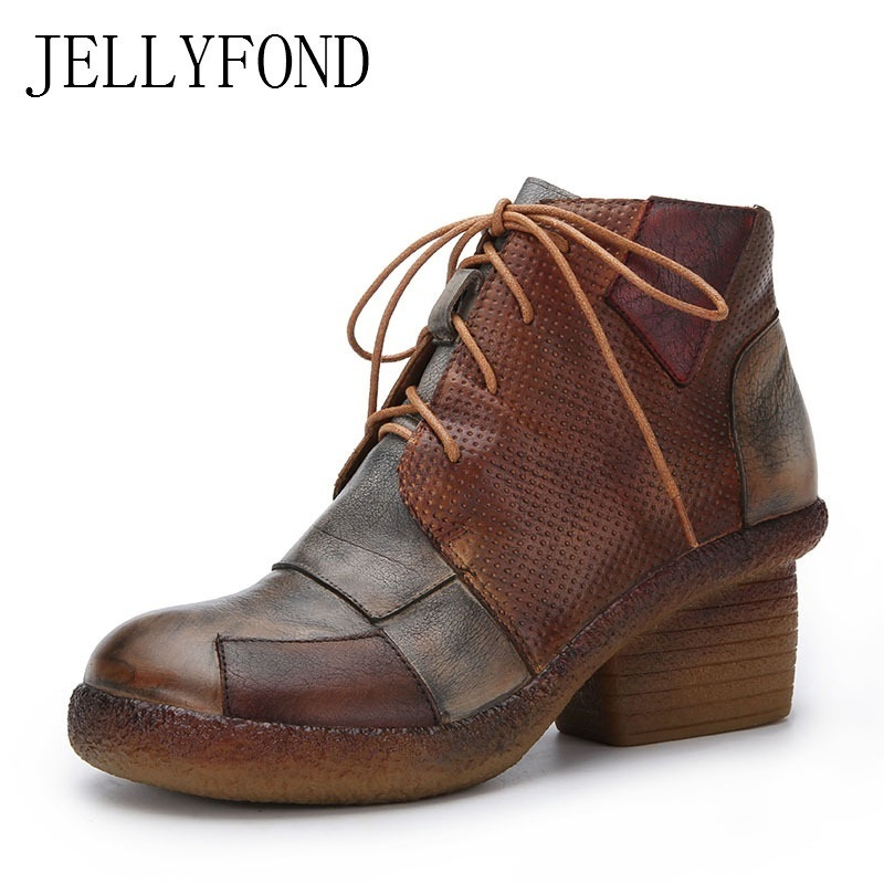 цена на JELLYFOND Genuine Leather Patchwork Ankle Boots Women Lace Up Punk Combat Boots 2018 Vintage High Heels Boots Winter Shoes Woman