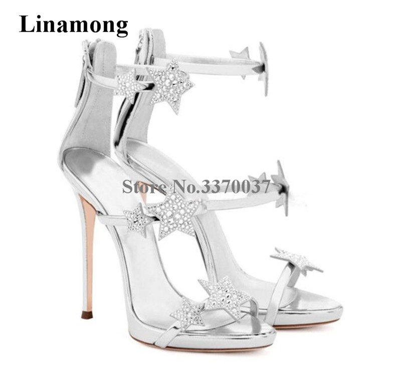 New Design Bling Bling Silver Black Rhinestone Five-pointed Stars Decorated Three Straps Gladiator Sandals High Heel SandalsNew Design Bling Bling Silver Black Rhinestone Five-pointed Stars Decorated Three Straps Gladiator Sandals High Heel Sandals