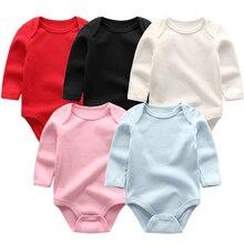 Комбинезон для маленьких девочек и мальчиков; 5 шт./лот; Пижама для новорожденных; г.; одежда для малышей; однотонные комбинезоны с длинными рукавами; одежда для малышей в стиле унисекс