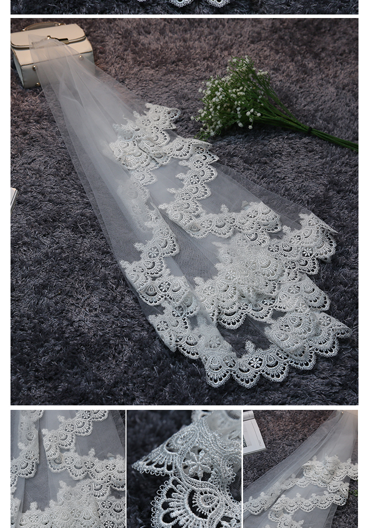JIERUIZE In Stock Lace Edge 1.5 M Long Wedding Veils High Quality Cheap Bridal Veils Wedding Accessories 2