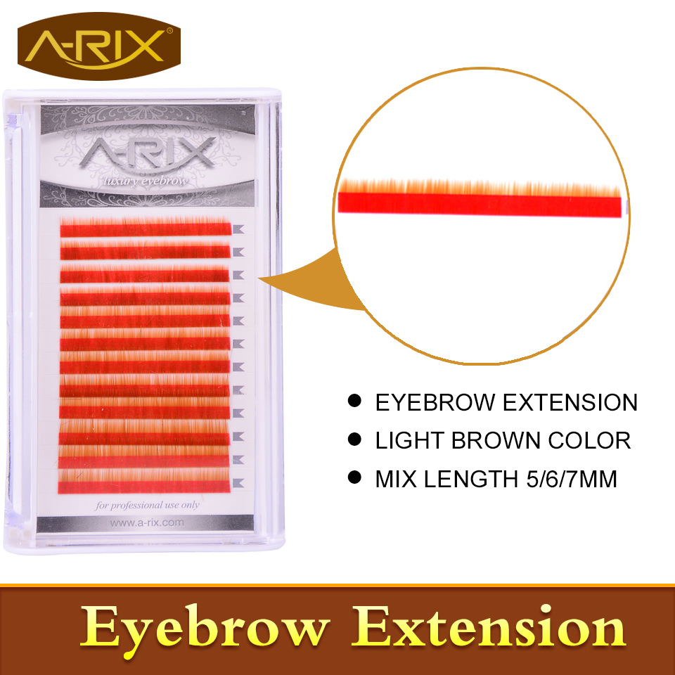 New Arrival Eyebrow Extension 10pcs/lot Faux Mink Hair Professional Makeup Tools Mix Length 5/6/7mm 0.10/0.15 Light Brown Color