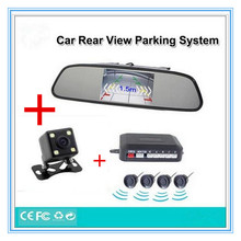 Car Parking Sensor System Alarm Reverse Rear Backup Alarm Radar Video Connect 4.3″ Car Monitor and Rearview Camera Assistance