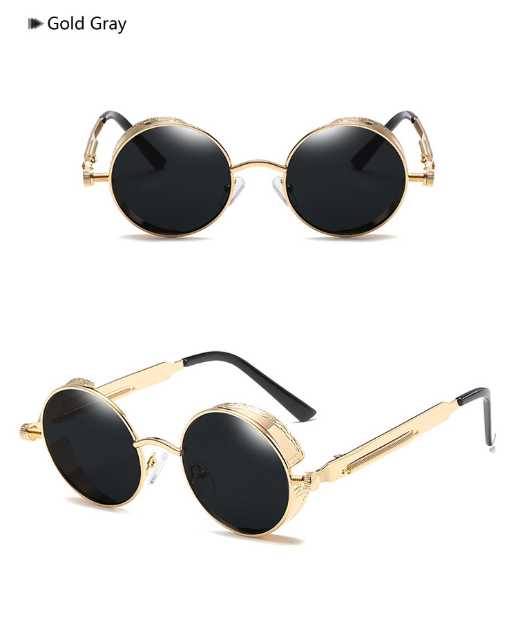 e177a26e8b Ralferty Round Steampunk Goggles Retro Male Sunglasses Men Vintage Women  Gothic Sun Glasses Gold Black Steam Punk Sunglass 58028