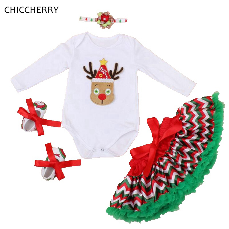 Reindeer Baby Girl Clothes Christmas Costumes for Kids Bodysuit Headband Lace Skirt Shoes New Born Infant Clothing Conjunto Bebe new born baby girl clothes leopard 3pcs suit rompers tutu skirt dress headband hat fashion kids infant clothing sets