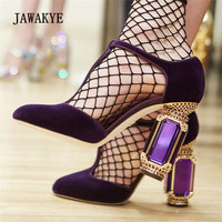 2018 New Runway High Heels Women Luxury Velvet Rhinestone Diamond Jewel Heel Shoes Women T Strap Gladiator Sandals
