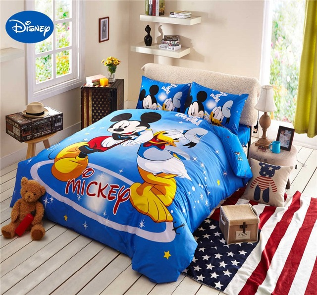 mickey mouse donald duck literie coton draps de bande dessin e disney impression housse de. Black Bedroom Furniture Sets. Home Design Ideas
