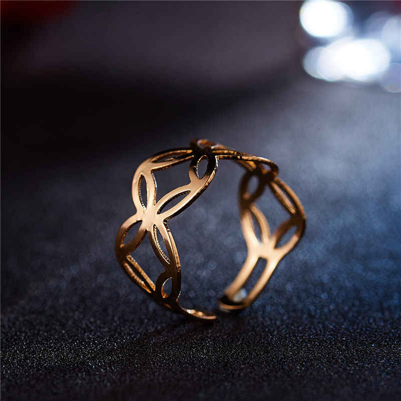 2019 New Fashion Gold Hollow Flower  Opening Ring  For Women Punk Alloy Finger Rings Simple Boho Jewelry