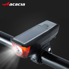 ACACIA Solar Powered Bicycle Horn+Light 140db USB charging Bike Front Handlebar Electronic Horn Lamp IPX-4 Waterproof Bike Bell