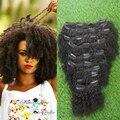 Venta caliente Afro Rizado Curly Hair Clip En El Cabello Humano extensión 9 Unids/set Brasilera Natural Negro Rizado Rizado Clip En extensiones de Cabello extensiones