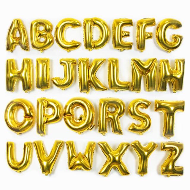 16 Zoll Gold Silber Buchstaben Ballons Geburtstag Dekorationen