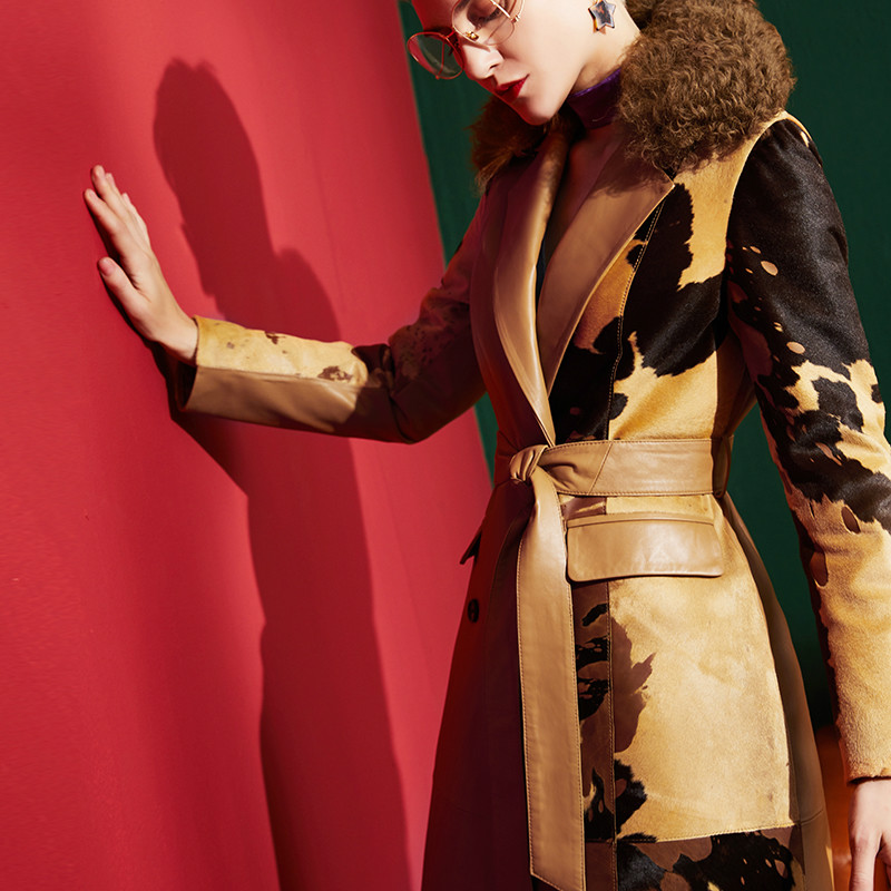 Зимнее женское пальто из натуральной кожи, модное тонкое пальто из телячьей кожи
