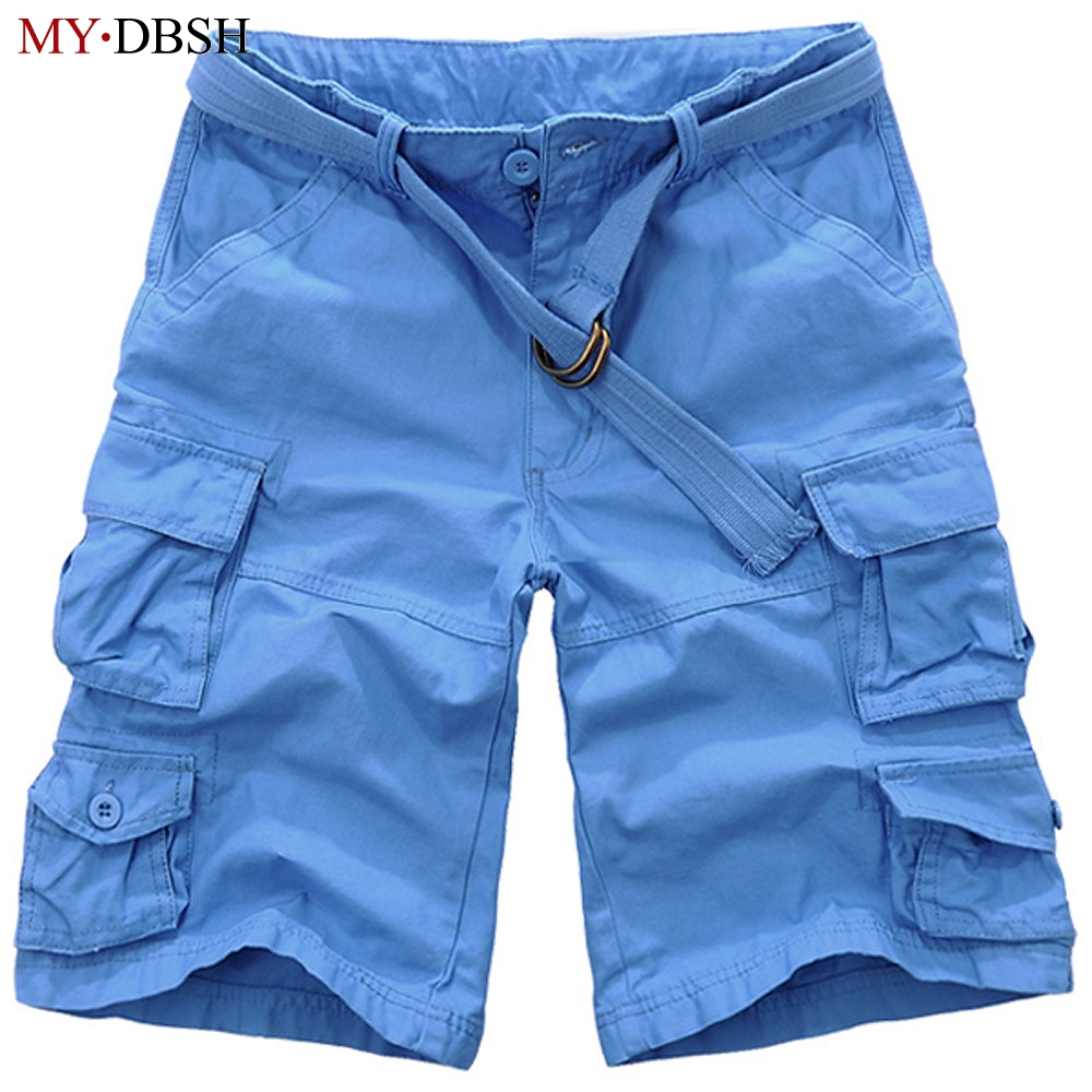 Mens Summer Shorts Masculino Camouflage Cargo Short Pants Mens Military Cotton Loose Shorts Men Army Short Pants With Belts