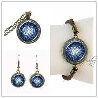 Colar de corrente de bronze antigo portal jóias stargate atlantis pingente pulseira brinco conjunto de jóias artesanais de couro de camurça
