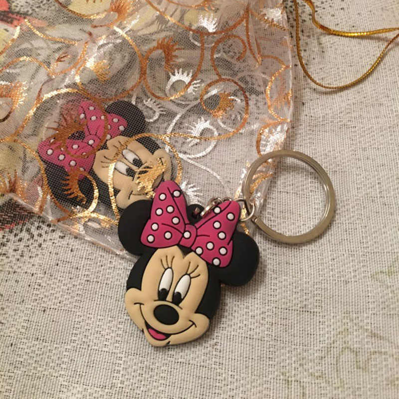 1PCS Mickey การ์ตูน PVC Key CHAIN มินิรูป Minnie กุญแจแหวนของเล่นเด็กจี้พวงกุญแจแฟชั่น charms Trinket