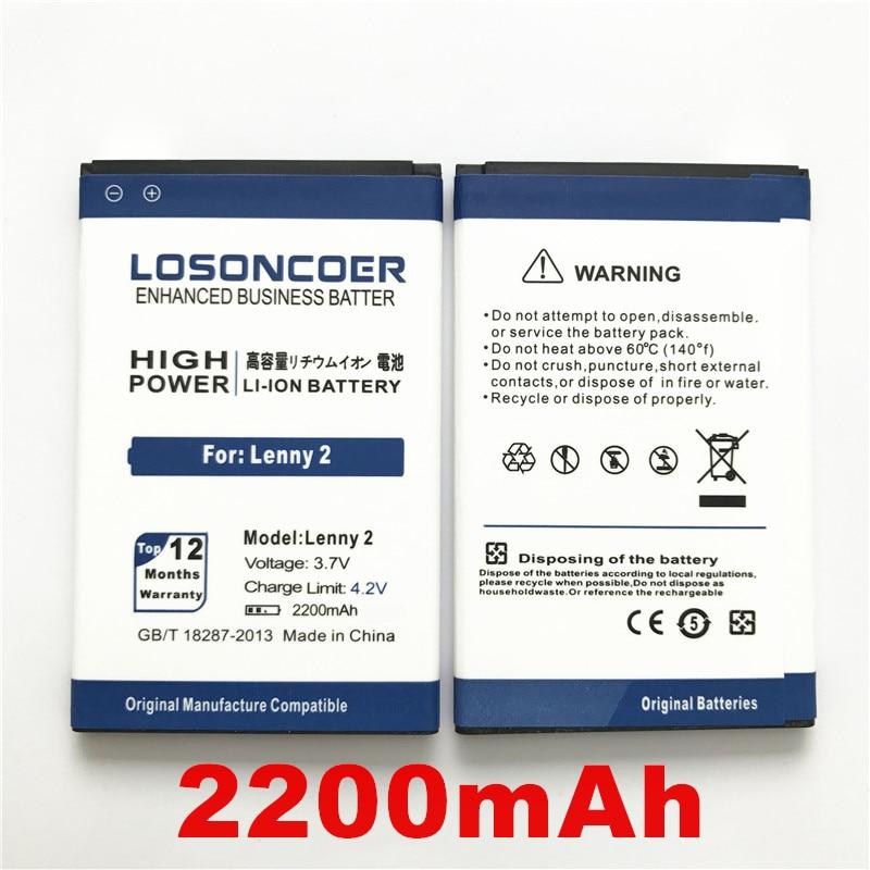100% Original LOSONCOER 2200mAh For Wiko Lenny 2 Cell Phone Battery