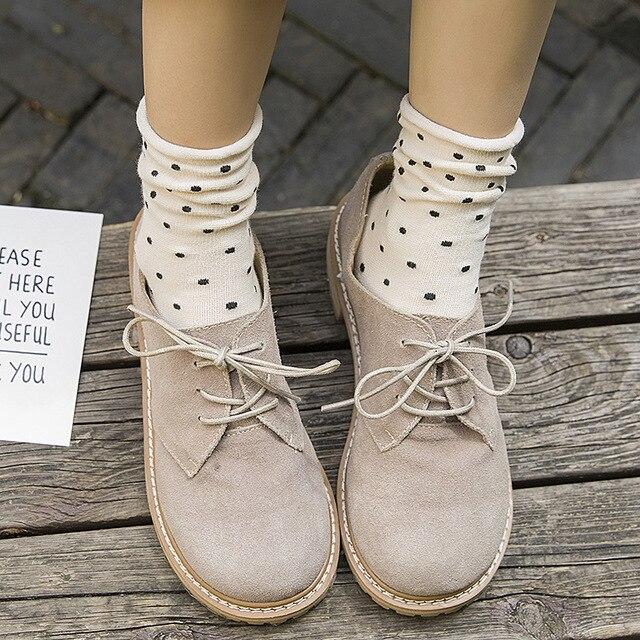 Dot Socks Harajuku Japanese Style Korean Street Style Bohemian 2018 Women Fall Fashion Kawaii Socks Fuzzy Socks Mid Tube Socks 3