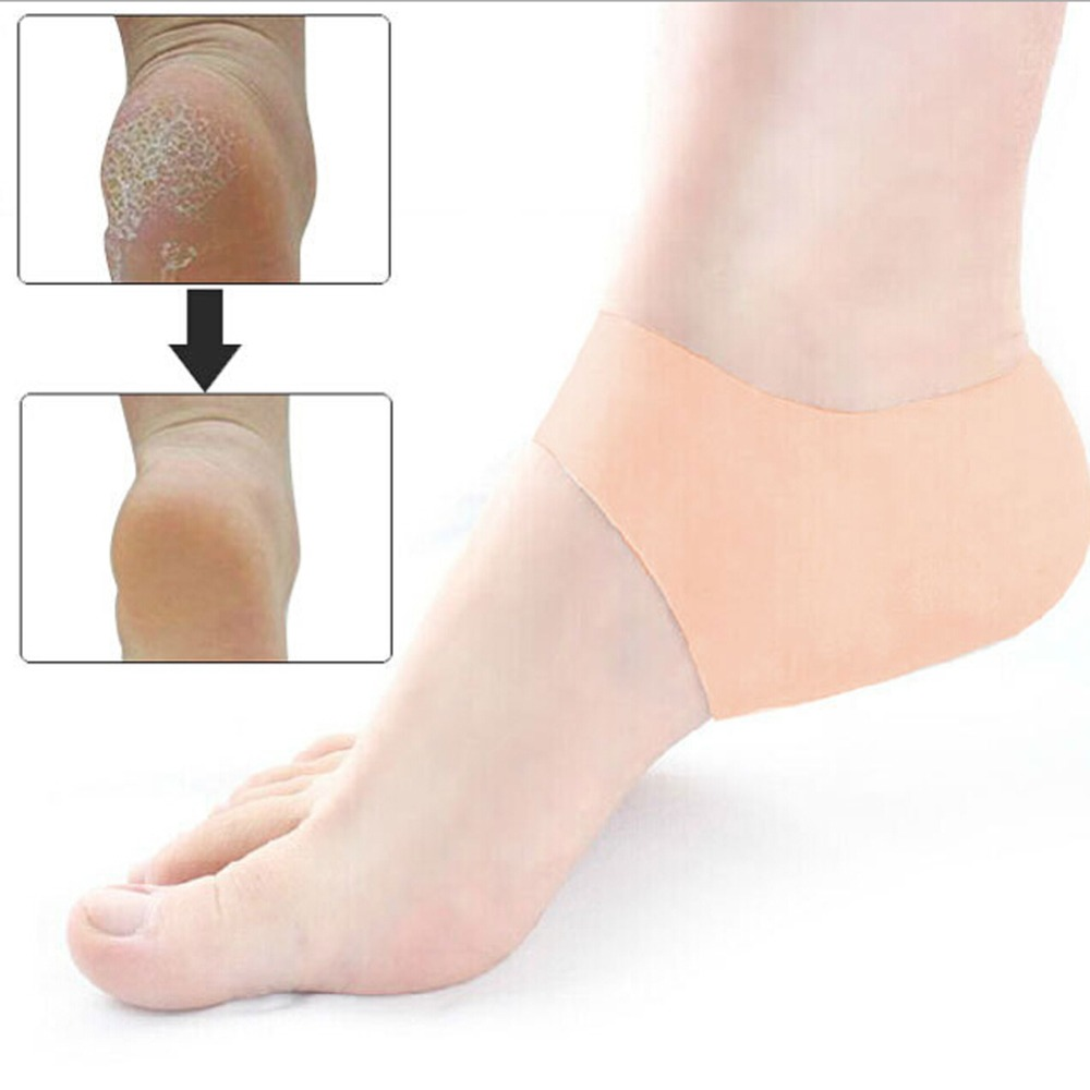 Foot Care Heel Protector sleeve unisex Silicone moisturizing heel sock cracked Skin pain relieve pedicure Insoles moisture 2pcs soumit silicone moisturizing gel socks hard exfoliating skin spa full length with hole cracked foot skin care protect heel socks