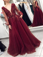 Burgundy Sexy Deep V Neck A Line Tulle Long Prom Dresses Lace Appliques Top Backless Sheer Long Sleeves Formal Evening Gowns