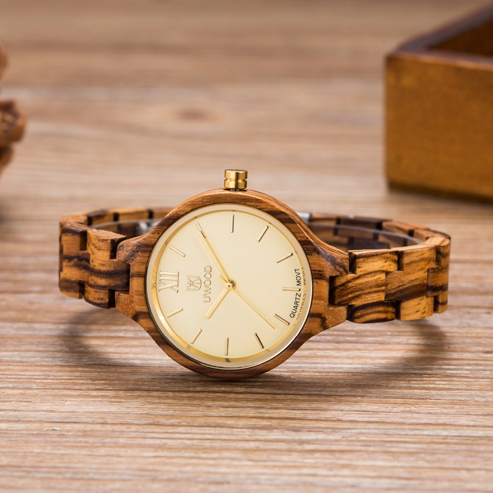 UWOOD W3013 New Arrival Wood Watch Womens Fashion Designer Watches Luxury Sandal Wooden Watch in Round As Best Gifts gross aqua 3013