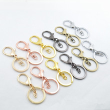 5pcs Gold/Rose gold/Gunblack Round Keyring Metal Split Key Chains Rings With Lobster Clasp DIY Accessories Findings