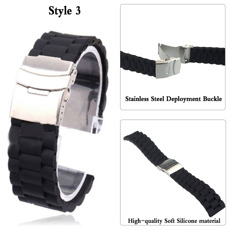 Watches ... Watch Accessories ... 32793220121 ... 4 ... 3Styles Sports Watch Band 20mm 22mm 24mm Soft Silicone Rubber Strap Steel Buckle Bracelet Wrist WatchBand watch accessories ...