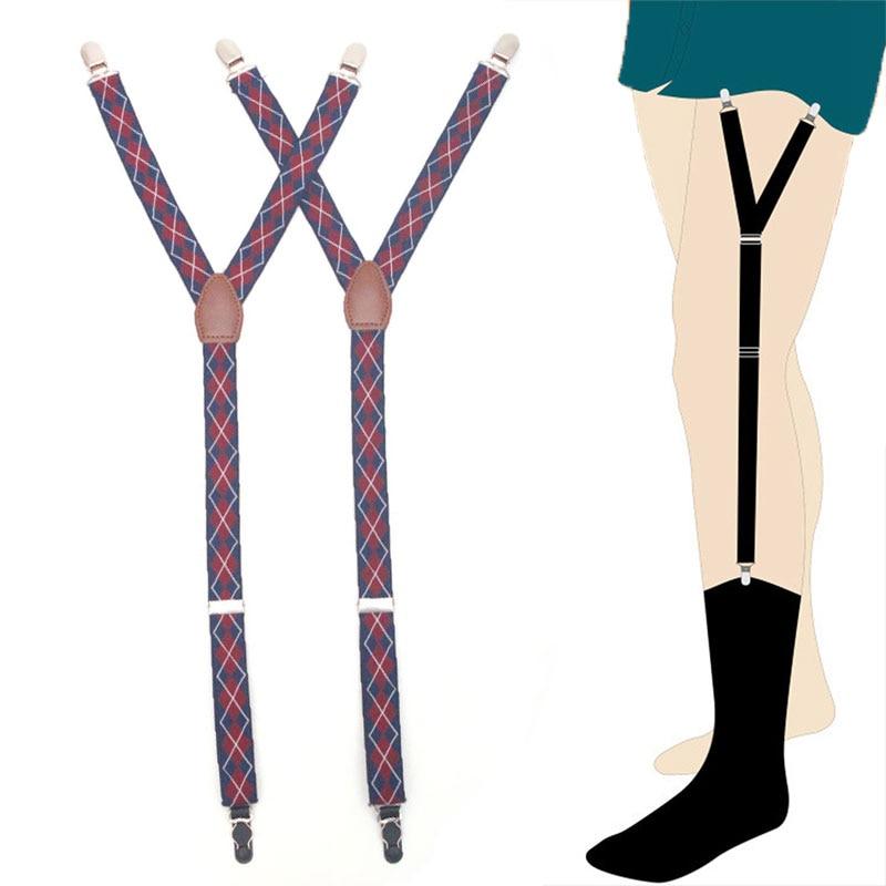 Suspenders Elastic Y-Shape Shirt Stays Garters Adjustable Non-Slip Shirt Holders Sock Fastener Garters For Men Braces Tirantes