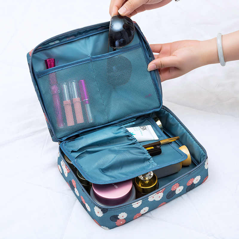 Vrouwen Make-Up tas Cosmetische bag Case Make Up Organizer Toilettas Opslag Neceser Gehaast Bloemen Nylon Rits Nieuwe Reizen Wassen pouch