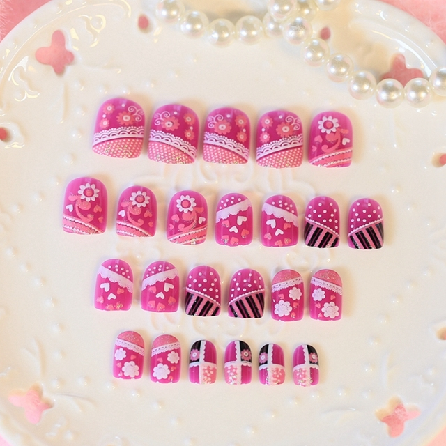 Cute Girl False Nail Hot Pink White Dots Lace Love Pattern Acrylic ...