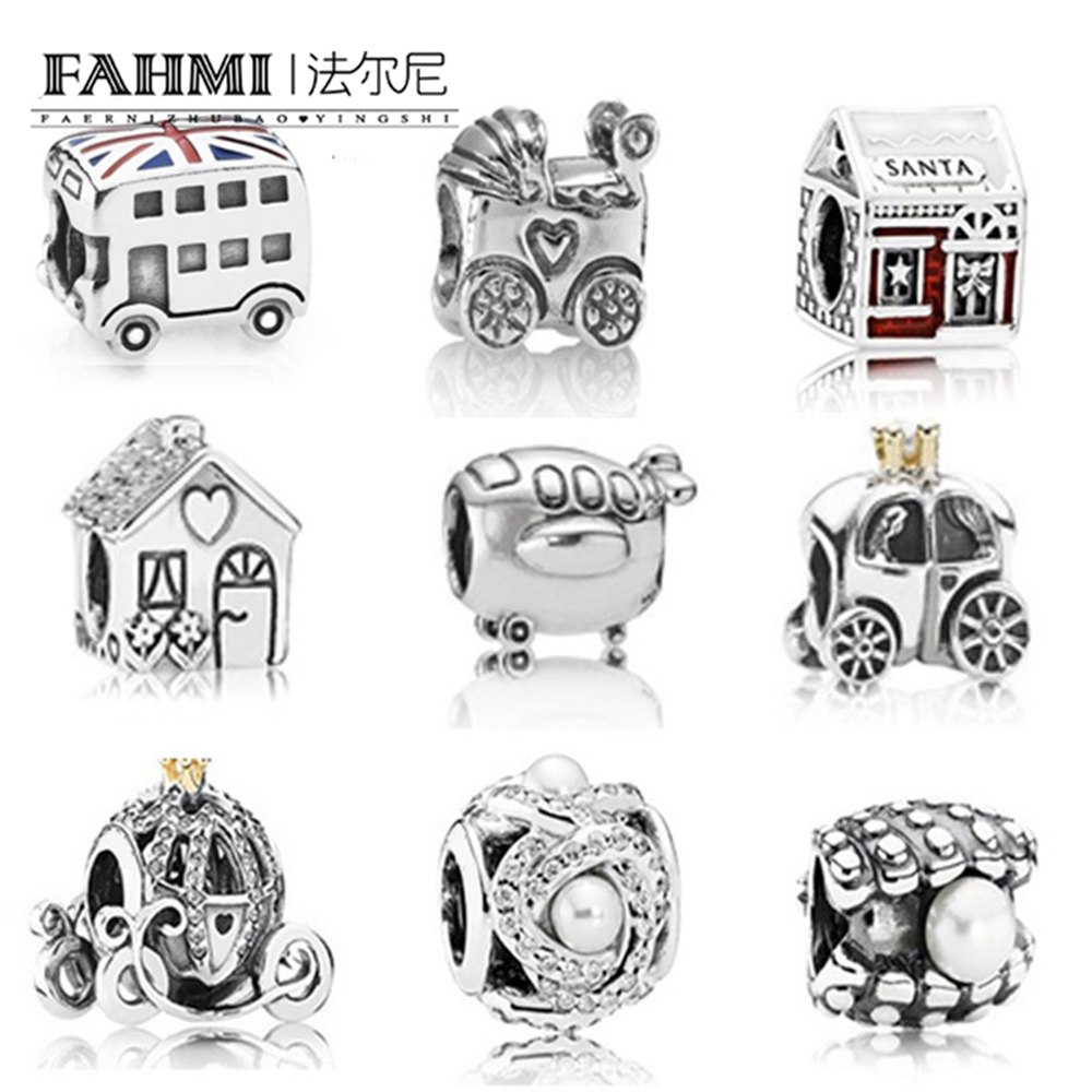 FAHMI New Authentic 100% 925 Sterling Silver house Charm Pearl shell Beads  charm bracelet DIY Pearl string Jewelry GiftFAHMI New Authentic 100% 925 Sterling Silver house Charm Pearl shell Beads  charm bracelet DIY Pearl string Jewelry Gift