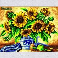 جديد اليد رسمت لوحات قماش اللوحة عباد الشمس مجردة الفن الاكريليك الطلاء بواسطة أرقام غرفة المعيشة الديكور جدار الصور