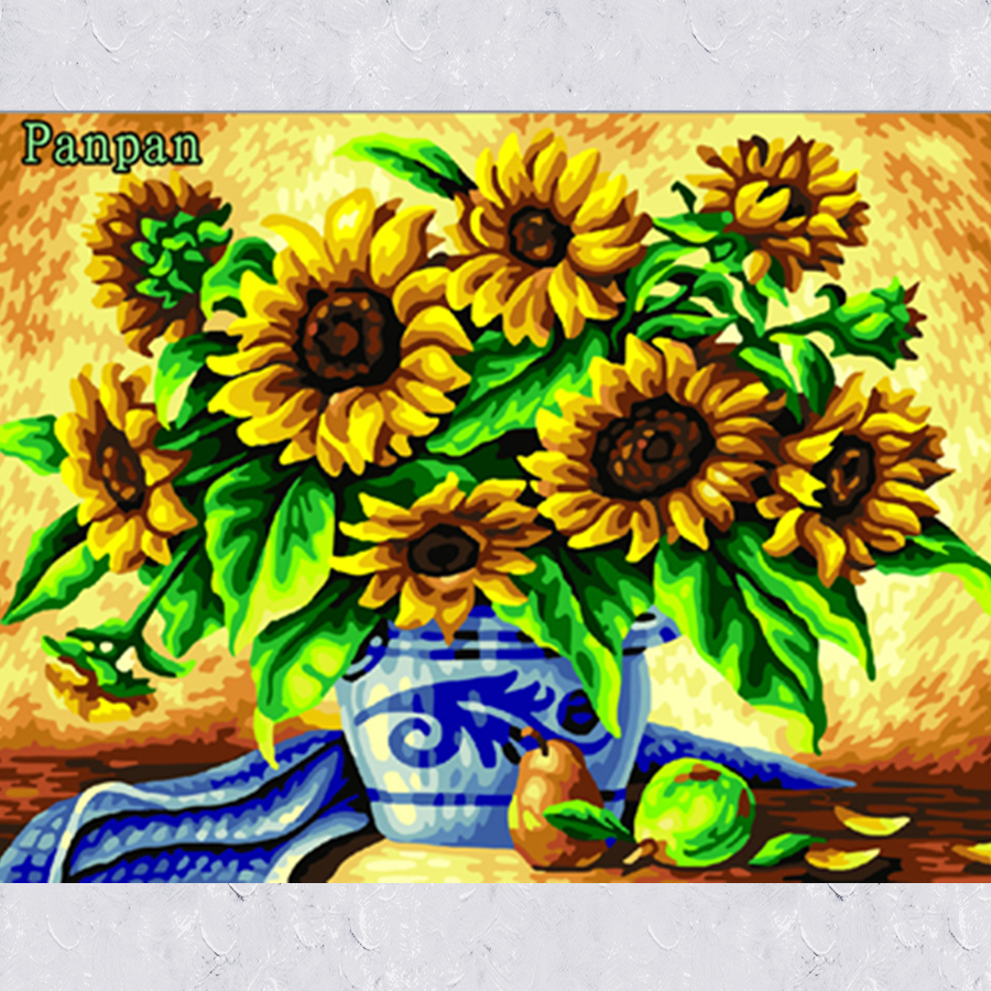 New Hand Painted Canvas Painting Sunflower Abstract Art Acrylic Paintings Paint By Numbers Living Room Decoration Wall Pictures