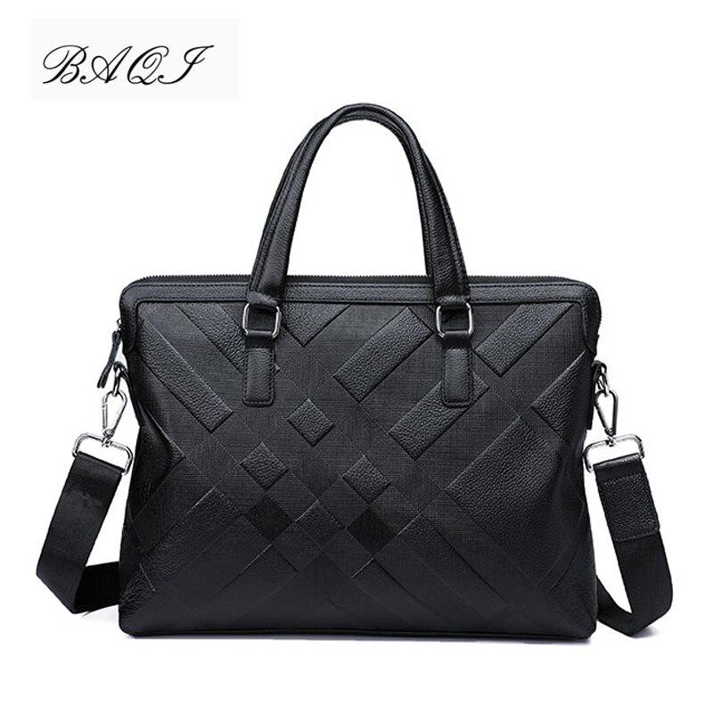 BAQI Brand Men HandBags Men Briefcase Bag Genuine Cow Leather Man Shoulder bags Messenger Bag 2019 Fashion Computer Business Bag
