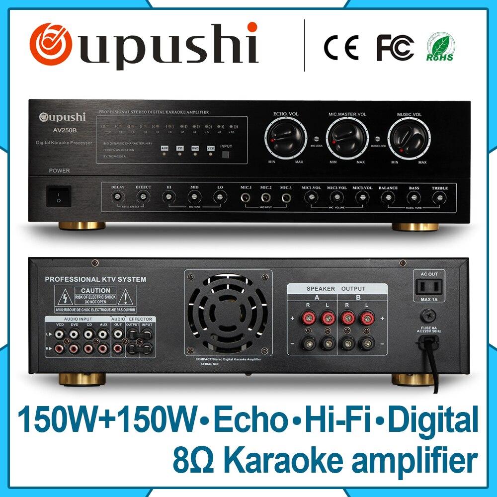 OUPUSHI AV250B Special audio amplifier2 Channel professional stereo amps home karaoke amplifier 300 watt
