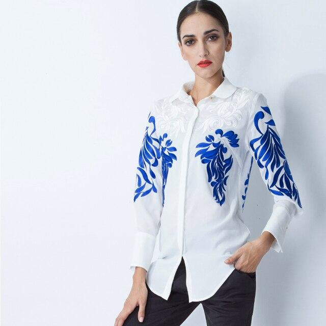 2016 Топ Мода женская Национальная Барокко Блузка Вышивка Взлетно-Посадочной Полосы Ретро Рубашка Плюс Размер 3XL Высокое Качество Движимость