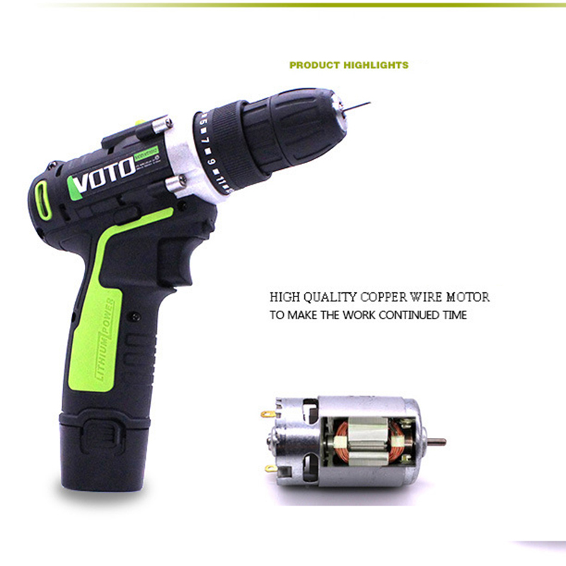 Rechargeable Hand Drill 12V Two-speed Lithium Battery Electric Drill Cordless Electric Drill Power Tools wosai 12v lithium battery electric drill bit two speed electric cordless drill mini screwdriver hand drill electric power tools