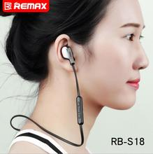 Remax RB-S18 Sport Bluetooth Earphone Stereo In Ear Headphones Magnetic Headset Neckband Bluetooth Earphone Wireless Headphone remax sport running in ear bluetooth wireless earphone magnetic neckband cvc noise reduce earphone with mic for iphone