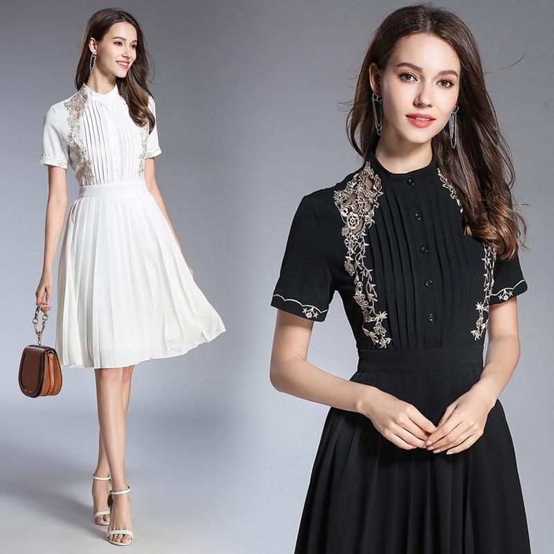 Courtes Mince Noir À Robes Blanc Manches Femmes Robe Longues Mode 3867 Broderie RqtwznIxCp